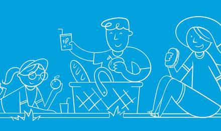 Geïllustreerde familie bereidt samen buiten een picknick voor